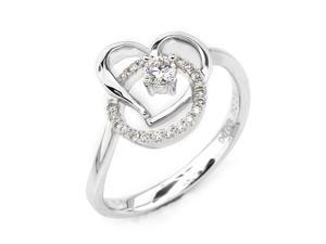 18K/750 White Gold Heart Shape Solitaire Diamond Ring (0.05 cttw, G-H Color, VS2-SI1 Clarity)