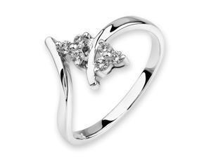 18K/750 White Gold 3 stone Flower Shape Diamond Ring (0.12 cttw, G-H Color, VS2-SI1 Clarity)