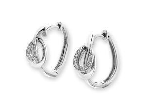 18K White Gold Belt Buckle Diamond Hoop Earrings (0.09 cttw, G-H Color, VS2-SI1 Clarity)