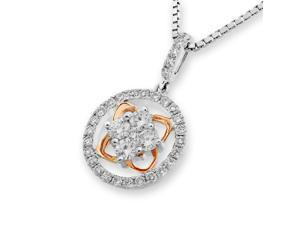 18K Rose & White Gold Round and Clover Diamond Cluster Pendant With 925 Sterling Silver Chain (0.44 cttw, G-H Color, VS2-SI1 Clarity)