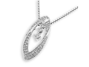 18K White Gold Marquise Shape Halo with 2-stone Dangling Diamond Pendant With 925 Sterling SilverChain (0.46 cttw, G-H Color, VS2-SI1 Clarity)