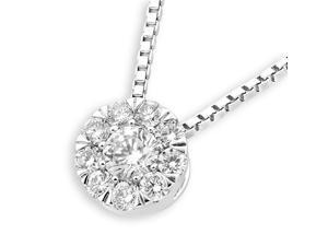 18K White Gold Round Cluster Diamond Pendant With 925 Sterling SilverChain (0.25 cttw, G-H Color, VS2-SI1 Clarity)