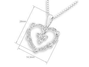 18K White Gold Heart Shape 3-stone Diamond Pendant With 925 Sterling SilverChain (0.31 cttw, G-H Color, VS2-SI1 Clarity)