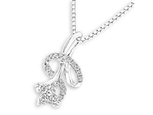 18K White Gold Sunflower Diamond Pendant With 925 Sterling SilverChain (0.23 cttw, G-H Color, VS2-SI1 Clarity)