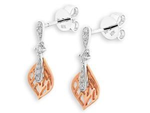 18K Rose Gold and White Gold (2 Tones) Dew Drop Leaf Diamond Stud Earrings (0.16 cttw, G-H Color, SI1-SI2 Clarity)