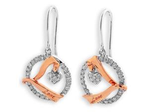 "18K Rose Gold and White Gold (2 Tones) ""Love"" With Heart Dangling Diamond Fishhook Earrings (0.37 cttw, G-H Color, SI1-SI2 Clarity)"