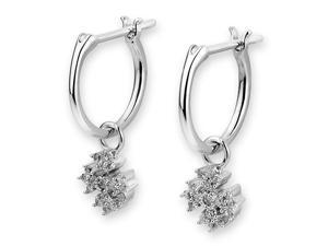 18K White Gold Snowflake Cluster Diamond Dangling Hoop Earrings (0.22 cttw, G-H Color, VS2-SI1 Clarity)