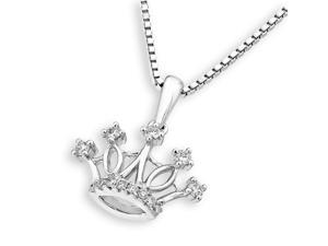 18K White Gold Royal Crown Diamond Pendant w/925 Sterling Silver Chain (0.10 cttw , G-H Color, VS2-SI1 Clarity)