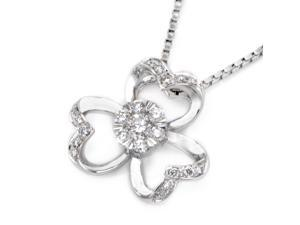 18K White Gold Clover Shape with Cluster Diamond Pendant w/925 Sterling Silver Chain (0.20 cttw , G-H Color, VS2-SI1 Clarity)