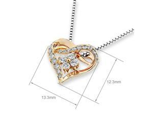 18K White Gold Heart Shape with Cluster Diamond Pendant w/925 Sterling Silver Chain (0.27 cttw , G-H Color, VS2-SI1 Clarity)