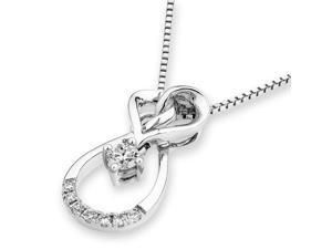 18K White Gold Heart Shape with Solitaire Diamond Pendant w/925 Sterling Silver Chain (0.15 cttw , G-H Color, VS2-SI1 Clarity)