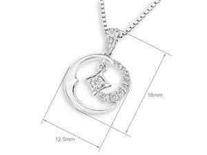18K White Gold Moon & Shinning Star Diamond Pendant w/925 Sterling Silver Chain (0.14 cttw , G-H Color, VS2-SI1 Clarity)