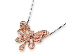 18K White Gold Butterfly with Dangling Diamond Pendant w/925 Sterling Silver Chain (0.60 cttw , G-H Color, VS2-SI1 Clarity)