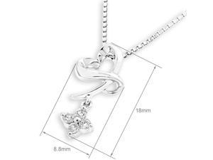 18K White Gold Heart Shape with Dangling Diamond Pendant w/925 Sterling Silver Chain (0.11 cttw , G-H Color, VS2-SI1 Clarity)