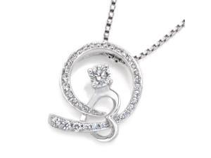 18K White Gold Hug your Love with Solitaire Diamond Pendant w/925 Sterling Silver Chain (0.26 cttw , G-H Color, VS2-SI1 Clarity)
