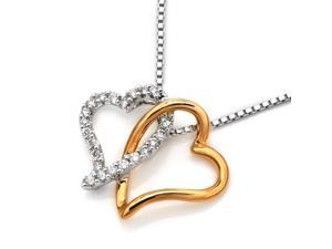 18K Rose & White Gold Twisted Heart Diamond Pendant w/925 Sterling Silver Chain (0.16 cttw , G-H Color, VS2-SI1 Clarity)