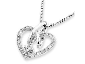 18K White Gold Heart Shape Diamond Pendant w/925 Sterling Silver Chain (0.26 cttw , G-H Color, VS2-SI1 Clarity)