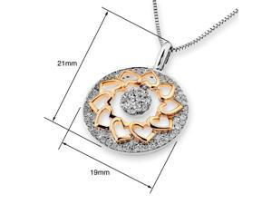 18K Rose & White Gold Sunflower with Cluster Diamond Pendant w/925 Sterling Silver Chain (0.54 cttw , G-H Color, VS2-SI1 Clarity)