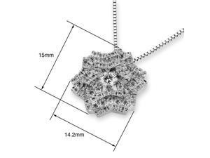 18K White Gold Snowflake with Cluster Diamond Pendant w/925 Sterling Silver Chain (0.79 cttw , G-H Color, VS2-SI1 Clarity)