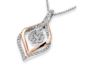 18K Rose & White Gold Rhombus Shape Halo with Cluster Diamond Pendant w/925 Sterling Silver Chain (0.46 cttw , G-H Color, VS2-SI1 Clarity)