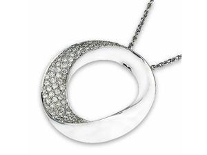 18K White Gold Donut with Pave Setting Diamond Pendant w/925 Sterling Silver Chain (1.52 cttw , G-H Color, VS2-SI1 Clarity)