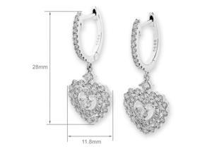 18K White Gold Double Heart Diamond Dangling Earring (1.03ct,G-H Color,VS2-SI1 Clarity)
