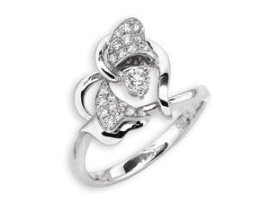 18K White Gold Heart Shape Diamond Ring (0.26ct,G-H Color,VS2-SI1 Clarity)