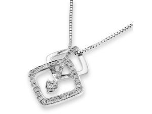 18K White Gold Double Rhombus With Pave Setting Diamond and Single Dangle Diamond Pendant w/Silver Chain (0.35ct,G-H Color,VS2-SI1 Clarity)