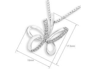 18K White Gold Butterfly Diamond Pendant W/925 Sterling Silver Chain (0.16 cttw, G-H Color, SI1-SI2 Clarity)