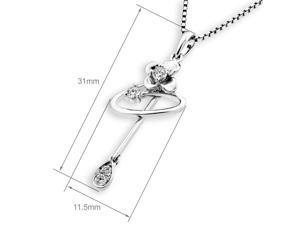 18K White Gold Flower Diamond Pendant W/925 Sterling Silver Chain (0.14 cttw, G-H Color, SI1-SI2 Clarity)