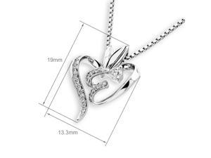 18K White Gold Heart Solitaire Diamond Pendant W/925 Sterling Silver Chain (0.14 cttw, G-H Color, SI1-SI2 Clarity)