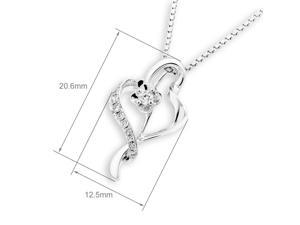 18K White Gold Leaf Shaped with Flower Solitaire Diamond Pendant W/925 Sterling Silver Chain (0.15 cttw, G-H Color, SI1-SI2 Clarity)
