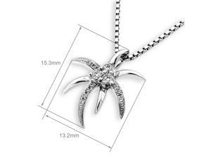 18K White Gold Palm Tree Diamond Pendant W/925 Sterling Silver Chain (0.10 cttw, G-H Color, SI1-SI2 Clarity)