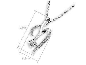 18K White Gold Dancing Ribbon Diamond Pendant W/925 Sterling Silver Chain (0.15 cttw, G-H Color, SI1-SI2 Clarity)