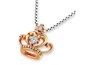 18K Rose Gold Princess Crown Heart Diamond Pendant W/925 Sterling Silver Chain (0.07 cttw, G-H Color, SI1-SI2 Clarity)