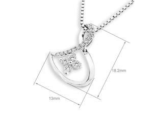 18K White Gold Infinity Diamond Pendant W/925 Sterling Silver Chain (0.19 cttw , G-H Color, SI1-SI2 Clarity)