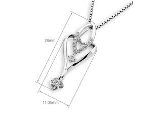 18K White Gold Marquise Heart with Flower Dangling Diamond Pendant W/925 Sterling Silver Chain (0.16 cttw , G-H Color, SI1-SI2 Clarity)