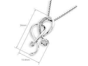 18K White Gold Ribbon Diamond Pendant W/925 Sterling Silver Chain (0.16 cttw , G-H Color, SI1-SI2 Clarity)