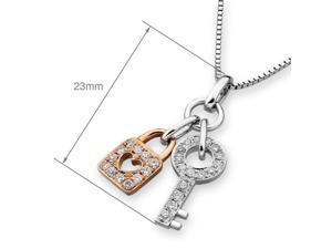 18K Rose White Gold Key & Lock Diamond Pendant W/925 Sterling Silver Chain (0.20 cttw , G-H Color, SI1-SI2 Clarity)