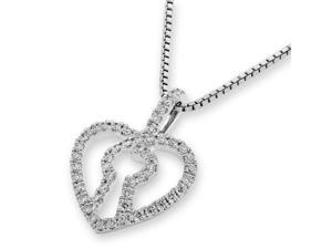 18K White Gold Heart Lock Diamond Pendant W/925 Sterling Silver Chain (0.25 cttw , G-H Color, SI1-SI2 Clarity)