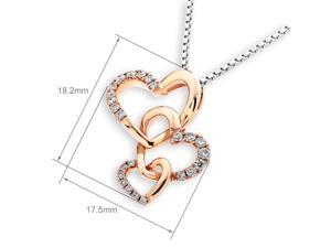 18K Rose Gold 3 Interlocking Heart Diamond Pendant W/925 Sterling Silver Chain (0.19 cttw , G-H Color, SI1-SI2 Clarity)