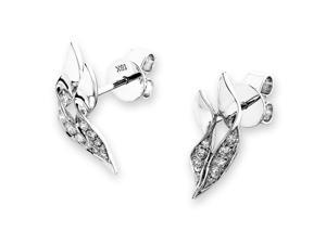 18K White Gold Feather Diamond Stud Earrings (0.20 cttw, G-H Color, SI1-SI2 Clarity)