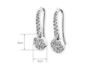 18K White Gold Cluster Diamond Fishhook Earrings (0.69 cttw, G-H Color, SI1-SI2 Clarity)