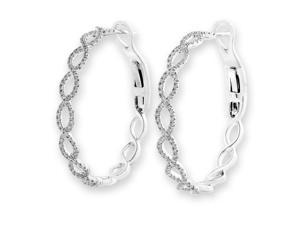 18K White Gold Infinity Diamond Accent Hoop Earrings (0.50 cttw, G-H Color, SI1-SI2 Clarity)
