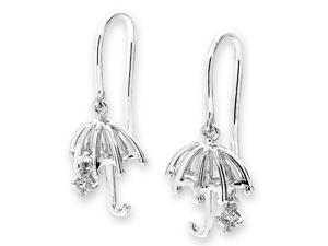 9K White Gold Dangling Umbrella With Solitaire Diamond Drop Earrings (0.05 cttw, G-H Color, SI1-SI2 Clarity)