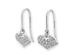 18K White Gold Droplet Diamond Fishhook Earrings (0.24 cttw, G-H Color, SI1-SI2 Clarity)