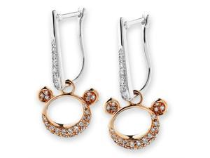 18K Rose Gold and White Gold (2 Tones) Teddy Bear Diamond Hoop Earrings (0.38 cttw, G-H Color, SI1-SI2 Clarity)