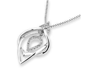 18K White Gold Infinity Water Drop Diamond Pendant W/925 Sterling Silver Chain (0.15 cttw , G-H Color, SI1-SI2 Clarity)