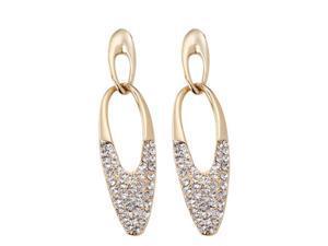 JA-ME Swarovski Crystal Oval Wave Design Pierced Earrings in 18K Gold Plated.