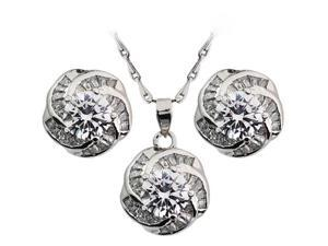 JA-ME 1.25ct / 7mm H&A CZ Camellia Pendant Necklace and Earrings Set